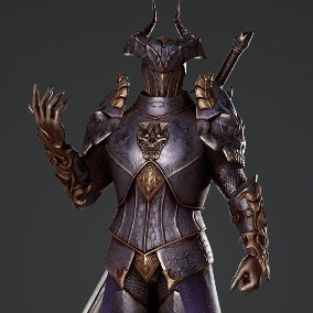 Low poly 3D model of Horned Knight. Rigged to Epic Skeleton, contains 4 color variations, separated mesh parts (modular).