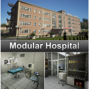 Modular hospital building with interior and exterior