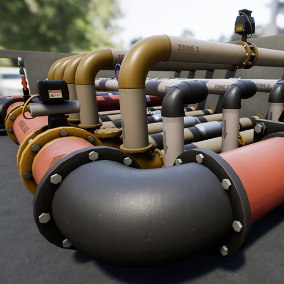 Modular Industrial pipe pack, offer 62 meshes, ideal to decorate abroad variety of environments, like industrial, interior or sci-fi.