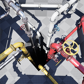 Modular industrial pipe set with collision primitives, secondary UVs, LODs and multiple materials