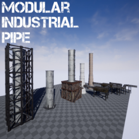 Set to create an industrial pipe and connections to it.