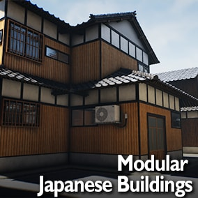 Realistic modular Japanese building blocks to create traditional villages