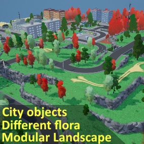 Stylized low poly modular landscape with trees, grass and city models