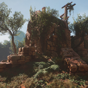 Modular lost ruins pack contains a set of different environment and modular assets along with a set of different props, rocks, foliage, and landscape Material/Textures.