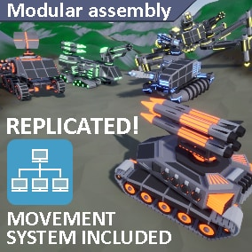Set of controlled modular low poly robots with multiplayer system