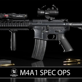 A modular and game-ready M4A1 rifle & scope that can be customized for your FPS project.