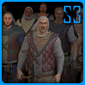 Medieval peasants with 13 modular body parts, 23 changeable color masks and customizable face blend-shapes with lips sync. Endless possibilities creating new characters with random face generation. Clothes and hair using simulation.