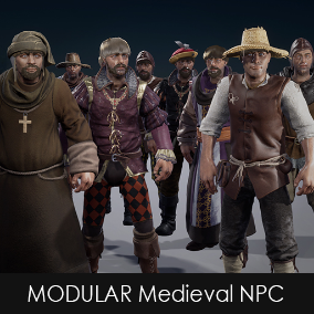 The Modular medieval NPC comes with a load of assets to equip a medieval character as you like.