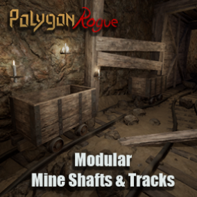 Modular building blocks for mine shafts tunnels, mine track segments, mine timber/plank wood support including a variety of rocks and tillable rock wall and ground dirt textures.