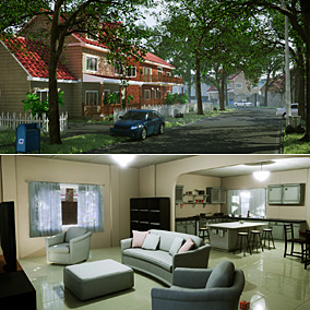 A Modular Neighborhood Interior & Exterior Pack, designed to create modular homes and neighborhoods.