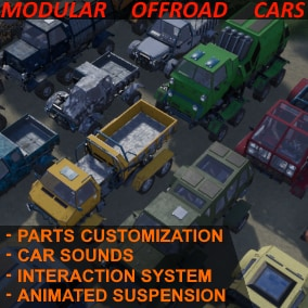 DIY styled modular customizable offroad cars. For example, can be used in post-apocalypse FPS and TPS games. This asset has playable demo (Read full description)