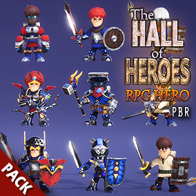 Modular RPG hero character pack with many parts for customization