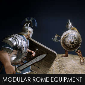 The Modular Rome Equipment has a load of assets to equip a Roman character as you like.