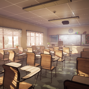 School environment built with modular parts and quality props.