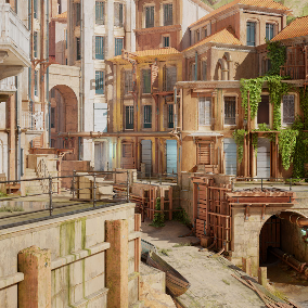 A collection of high fidelity, abandoned, broken wood and brick buildings, rocks and foliage. Can be used to create run-down structures with vibrant vegetation.