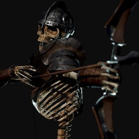 Low poly Modular Skeleton Archer. Rigged with Epic Skeleton with openable jaw (no retarget needed).