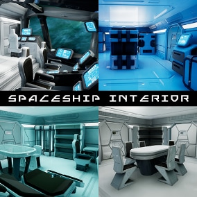 Modular Stylized Spaceship Interior - Low Poly Game Ready