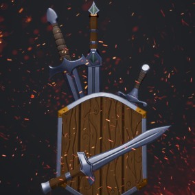 Stylized modular swords and daggers with 4 non modular shields. You can choose from 40 weapon parts to make your own combinations, add dirt and change color of everything.