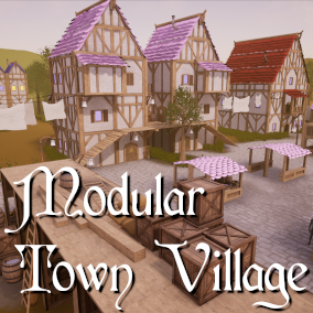 A set of modular parts and props to build a town village