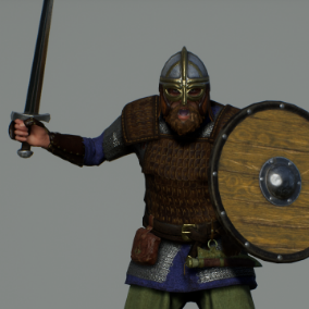 Modular Viking Warrior armor set with naked body, body parts, props, hair and weapons.