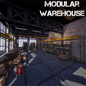 A set of modular parts for the creation of warehouse buildings of various types and forms, as well as props for filling.