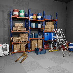 Contains high quality Storage house assets like shelf, stair, plastic and steel barrel, cardboard and wooden box, gas tank, pallet and tools box. Perfect for a factory industrial interior environment in a FPS/TPS/VR game.