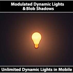 Add unlimited dynamic lights to your scene using modulated materials. Includes glow & flickering effects at virtually no CPU cost. Also includes colored blob shadows that automatically adapt to any surface. Good performance for mobile devices.