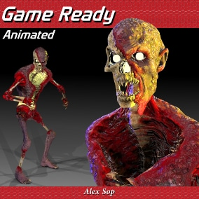 Game ready low-poly model of the character Monster Necrotos