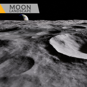 This content includes highly detailed 16 km2 (4x4 km) Moon landscape.