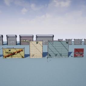A collection of doors including metal swing doors, garage doors, and roll doors.