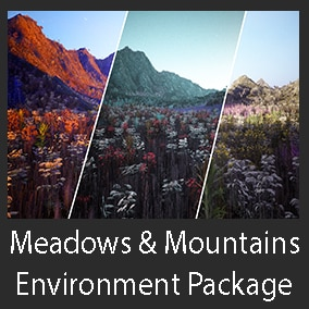 This is a mountain & meadow environment package which contains 1 terrain and 135 vegetation assets