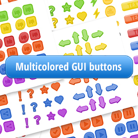 Multicolored GUI toon style buttons.