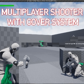Movement,aim offset,montages,Hand IK,shooting,damage,etc are replicated!  It is a basic shooting project from what you can build your Multiplayer shooter game!