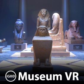 Virtual museum environment filled with 16 photo-scanned works of ancient Egyptian art.