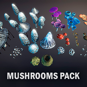 Package includes 49 Meshes of many different types of mushrooms.