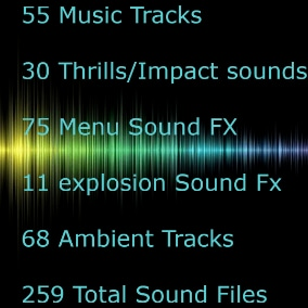 This is a large pack of great music tracks, ambient tracks, sound effects and menu FX. NO ONE will ever mute your game's music....ever.
