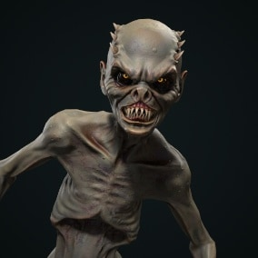 Low-poly game ready model of the character Mutant 1