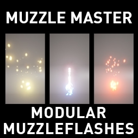 16 Modular Muzzle flashes made in Niagara (modules can easely be exchanged to create new ones)