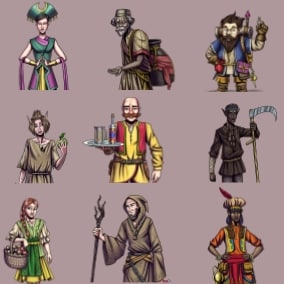 12 female and male NPCs to fill out your world - 95 unique dialogues performed by 6 different voice actors. Perfect for all your NPCs in your RPG or fantasy game.
