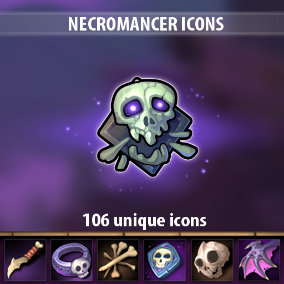 Set of 106 hand drawn Necromancer Icons.