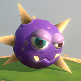 """Low poly model """"Needle virus (bacteria or aliens)"""" was made for cartoon games."""