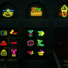 Elevate your game levels, cities, streets with our new collection of over 180 neon signs, ready to be used as decorative props in your levels. Create up to 360 different neon signs!