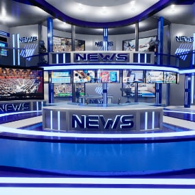 Complete news channel scene, with a modular TV studio and additional game-ready studio props.