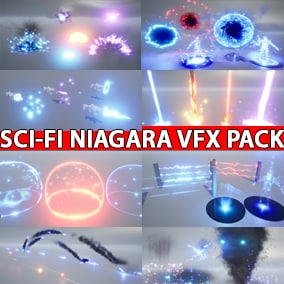 A Niagara Sci-Fi Starter VFX Pack for starting or creating your own Sci-Fi project not from scratch using new Niagara System.