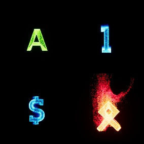 The pack contains effects in the form of symbols such as letters of the English alphabet, numbers, symbols such as hash, dollar sign, ampersand, and runes.