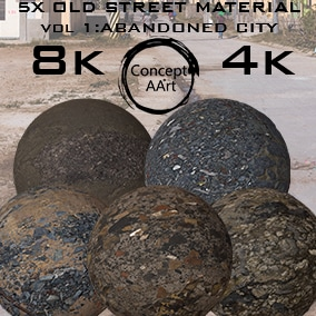 5 Super Realistic Old Street Materials for all platforms. All Textures have their own 8K,4K,2K and 1K version and ready for every kind of project.