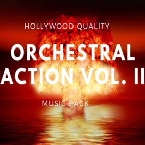 Orchestral Action Vol. II Music Pack is an album with 8 cinematic action tracks featuring realistic orchestra, cinematic percussions, choir and electronic synths with Hollywood quality.