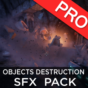 The Object destruction sound effects pack features 120 high quality breaking, smashing, destroying, explosion sounds for glass, metal, wood, rock, stone, ceramic, and mixed objects.