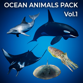 The Ocean Animals Pack comes with 5 creatures, each with their own procedural spline animation systems, and includes an ocean environment.