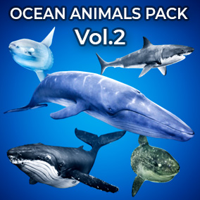 This Ocean Animals Pack comes with 4 large creatures, each with their own procedural spline animation systems.